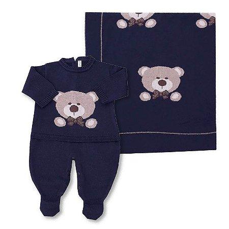 Conjunto Saída de Maternidade e Manta Urso Marinho