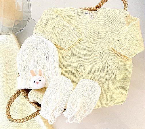 Macacão Saída de Maternidade - Dots Giant Amarelo