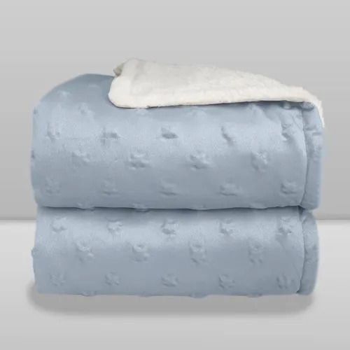 Cobertor Infantil Forrado Sherpa - Relevo Estrelas - Cor Azul Bebê