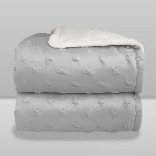 Cobertor Infantli Forrado Sherpa - Relevo Estrelas - Cor Cinza