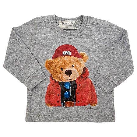 Camiseta Manga Longa Teddy Cinza - Dame Dos