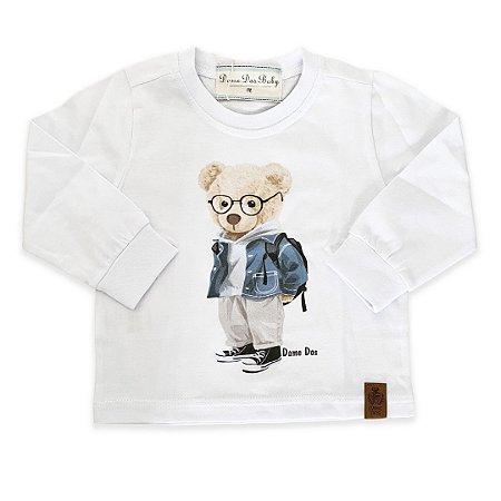 Camiseta Manga Longa Teddy Branca - Dame Dos