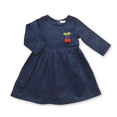 Vestido Infantil de Veludo Marinho com aplique Cereja - tam M ao 8