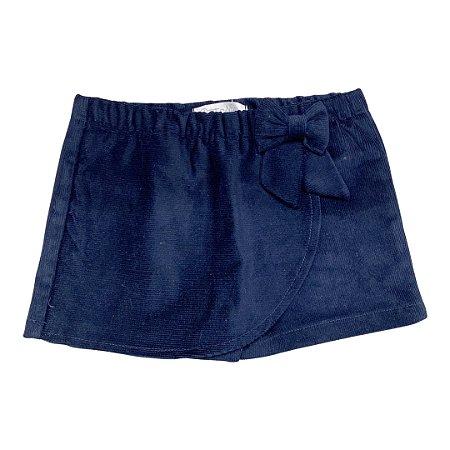 Shorts Saia Infantil Veludo Marinho