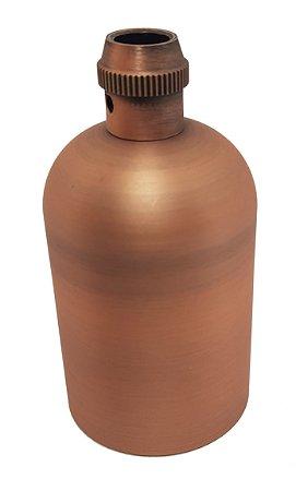 Soquete de cerâmica com acabamento em metal cobre rosado