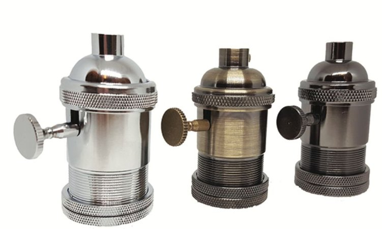 Soquete Retrô para cupulas com acabamento em latão e interruptor  /E27