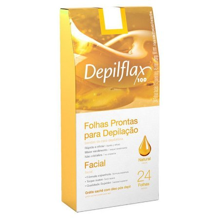 Folhas Prontas Depilação Facial Depilflax 24un Natural
