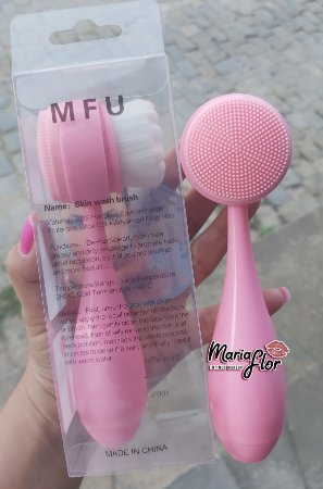 Escovas De Limpeza Facial Massageadora Manual 2 Funções (Rosa)
