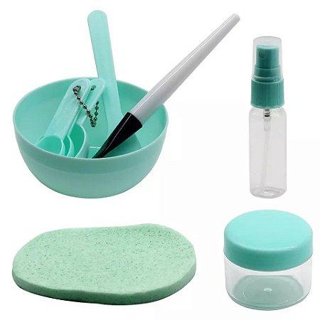 Kit 9 pçs Para Aplicação Máscara Argila Bacia Espatula Pincel Skin Care DIY cuidados faciais cor verde