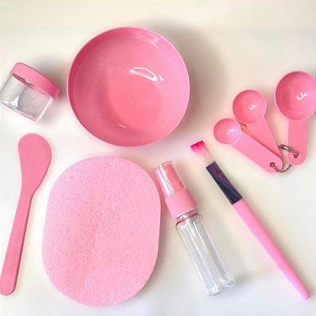 Kit 9 pçs Para Aplicação Máscara Argila Bacia Espatula Pincel Skin Care DIY cuidados faciais cor rosa