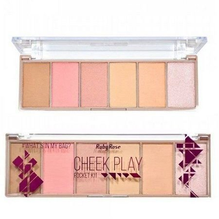 Paleta De Blush, Contorno E Iluminador Pocket Cheek Play Ruby Rose Hb-7515