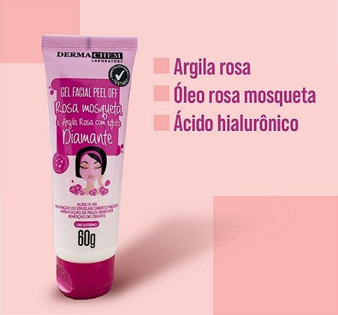 Gel Facial Peel Off Rosa Mosqueta e Argila rosa com Efeito Diamante