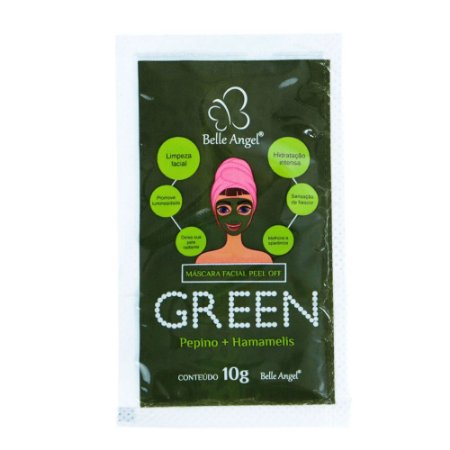 Kit com 10 sache Máscara facial Peel Off Green Belle Angel.