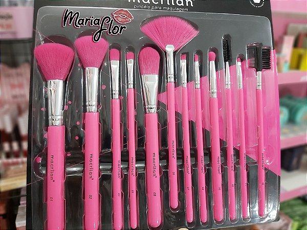 kit com 12 pincéis para maquiagem Rosa neon - macrilan