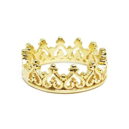 Anel de coroa folheado em ouro 18k