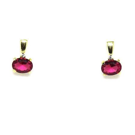 Brinco Pequeno Pedra Rosa Lapidado Folheado em Ouro 18k