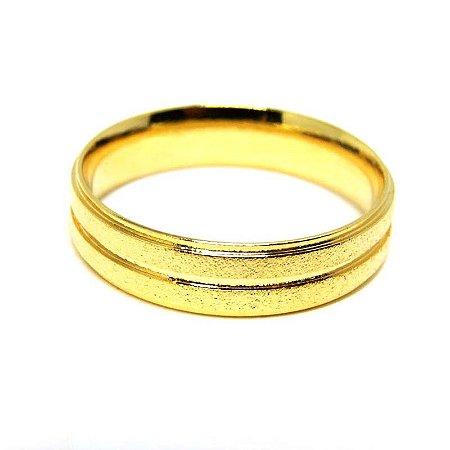 Aliança masculina diamantada fio de Ouro