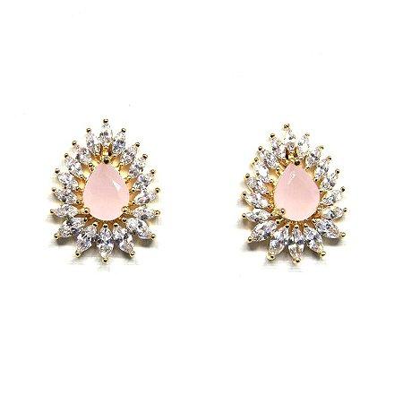 Brinco pedra natural rosa folheado em ouro 18k