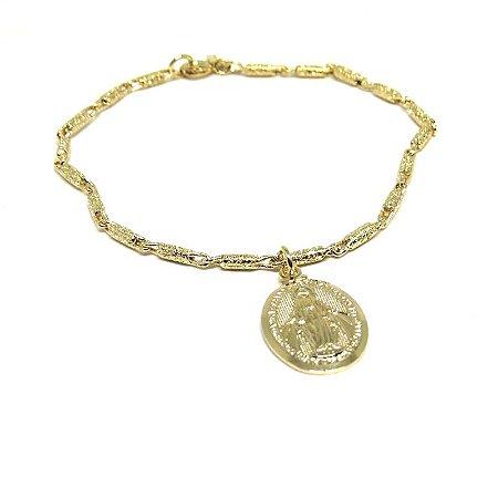 Pulseira com medalha de Nossa Senhora das Graças folheado em ouro 18k