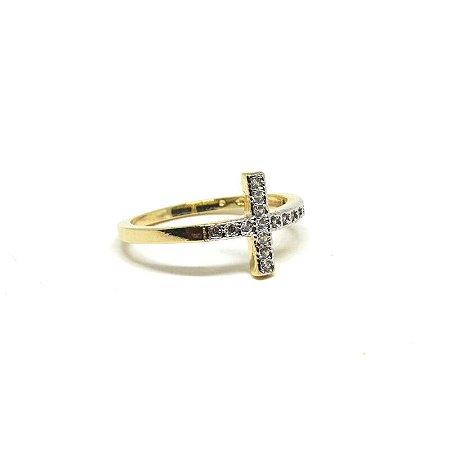 Anel cruz folheado em ouro 18k