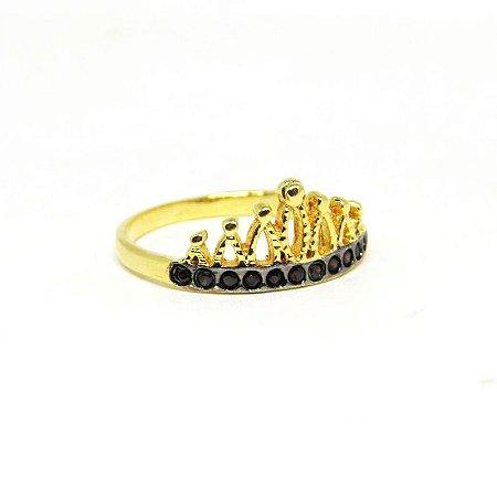 Anel coroa folheado em ouro 18k