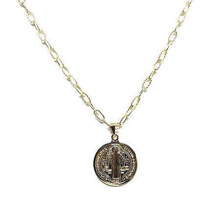 Corrente com medalha de São Bento folheado em ouro 18k