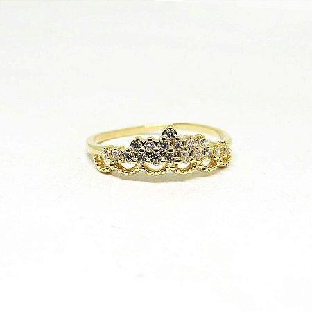 Anel falange de coroa folheado em ouro 18k