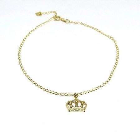 Tornozeleira de coroa folheada em ouro 18k