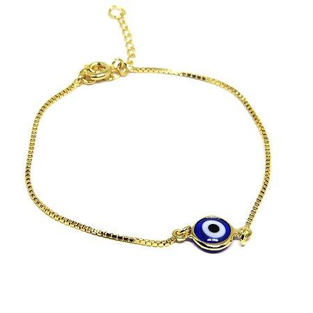 Pulseira olho grego folheado em ouro 18k