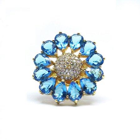 Anel pedra natural azul folheado em ouro 18k