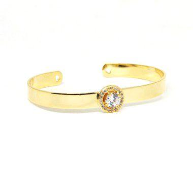 Bracelete pedra de zirconia folheado em ouro 18k