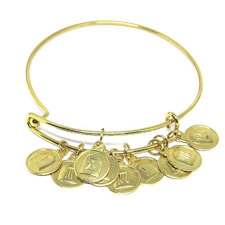 Bracelete medalhas 10 mandamentos folheado em ouro 18k