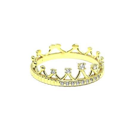 Anel de coroa com zriconia folheado em ouro 18k