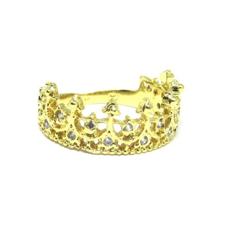 Anel coroa com zirconia folheado em ouro 18k