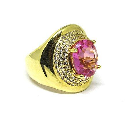 Anel grande pedra natural rosa folheada em ouro 18k