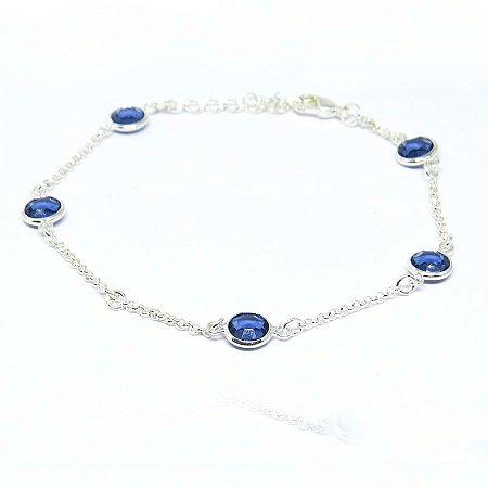Pulseira com vidro lapidado azul folheado em prata