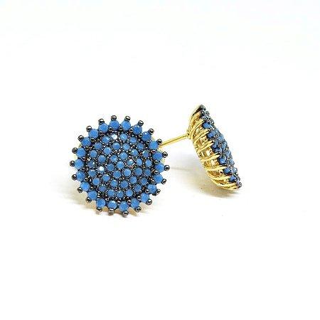 Brinco pedra natural azul folheado em ouro 18k