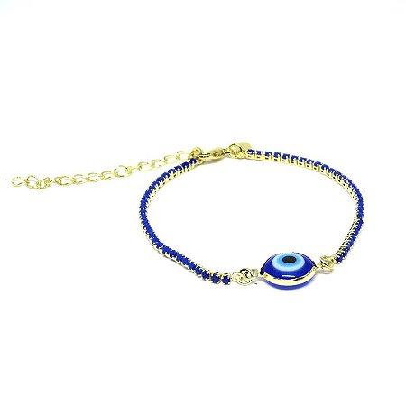 Pulseira olho grego com zirconia azul folheada em ouro 18k
