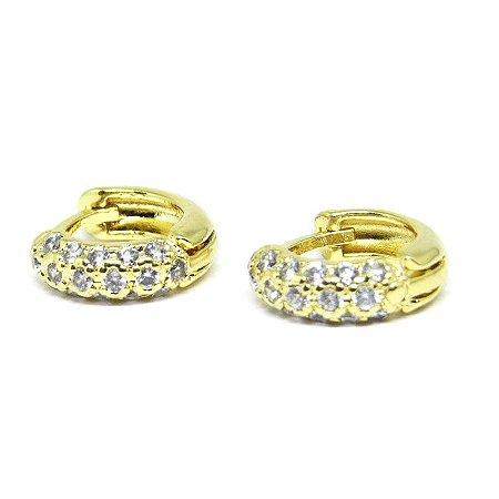 Piercing argolinha com zirconia folheado em ouro 18k