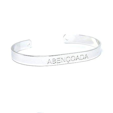 Bracelete abençoada folheada em ródio branco