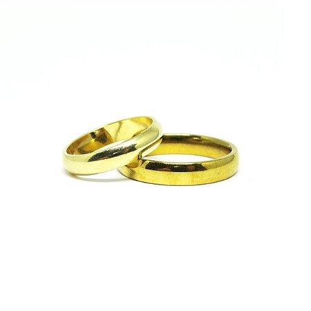 Aliança fina com folheado especial ouro 18k