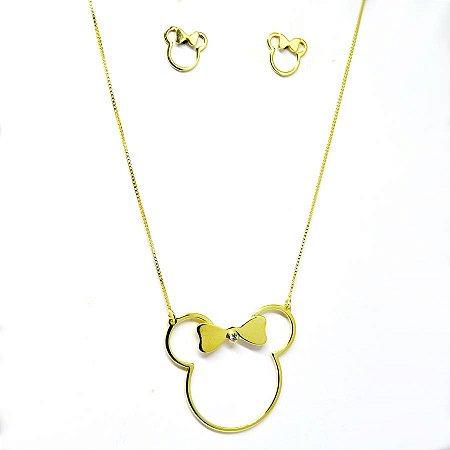 Conjunto Minnie folheado em ouro 18k