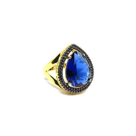 Anel pedra de topázio folheado em ouro 18k