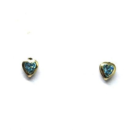 Brinco infantil coração pedra azul folheado em ouro 18k