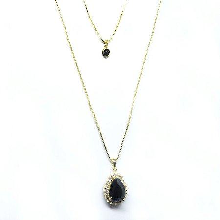 Colar duplo pedra natural preta e zirconia folheado em ouro 18k