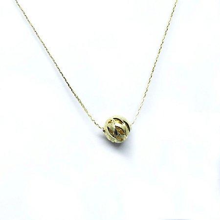 Gargantilha bolinha diamantada folheado em ouro 18k