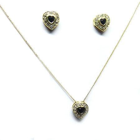 Conjunto coração de zirconia folheado em ouro 18k