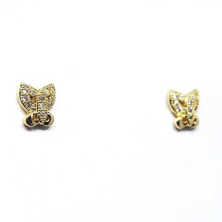 Brinco pequeno borboleta com micro zirconia folheado em ouro 18k