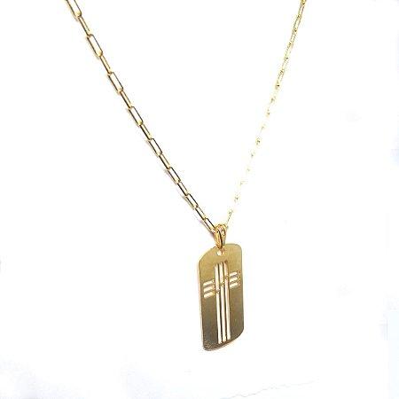 Corrente masculina Cartier com pingente cruz vazada folheado em ouro 18k