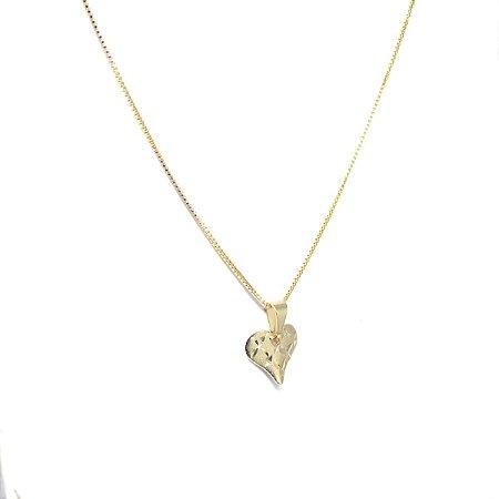 Colar coração delicado folheado em ouro 18k